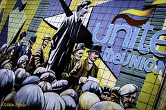 UP THE WORKERS... (BABAYAGA321) Tags: belfast victoriasquare streetphotography graffiti streetart clocktower murals dirtyonion guinness salvadoredali johnpeel stenaline langanriver ferry stannescathedral spireofhope