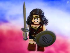 Wonder Woman Attack (jezbags) Tags: lego legos toys toy minifigure minifigures macro macrophotography macrodreams macrolego canon60d canon 60d 100mm closeup upclose justice league justiceleague wonderwoman wonder shield sword amazon diana