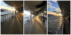 Holland America ~ cruising the promenade (karma (Karen)) Tags: canada britishcolumbia cruising hollandamerica mszaandam ships promenade sunsets fences fencefriday hff triptych picmonkey topf25 mmm