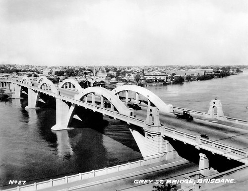 14 Jul 1943 - Rare Real Photo Card - Circa 1930s - No. 27 - Grey St Bridge, Brisbane, Queensland, Australia