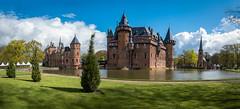 De Haar Castle (Kasteel De Haar) (ben_leash) Tags: blue dehaar castledehaar kasteeldehaar utrecht netherlands nederland castle moat panorama panoramic landscape dutch neogothic