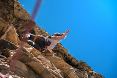 Rest (Luca Cambriglia) Tags: italy europe sport climbing climb climber hiking trekking training sky blue sun yellow rock mountain hot explore nature live life experience girl woman friend strenght adventure crazy resting rest photo photography nikon tamron zoom d750 full fullframe sensor color colors light lights outdoor world beauty art beautiful height high emotion passion thrill moment seizethemoment movement muscle