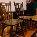 Dark wood stained kitchen chair E35