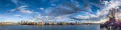 River Thames - Open waters (Tristan Jones Photography & Art) Tags: bermondsey canarywharf city cityphotography clouds copyrightprotectedallrightsreserved daytime eastlondon england footpath jetty london mild panorama riverthames riverside skyscraper sunny uk wapping wide wwwtristanjonescom