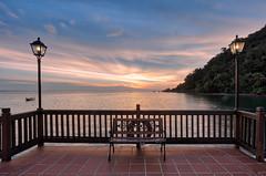 (espinozr) Tags: sunset sea sky ocean malaysia langkawi asia 2017 southeastasia bench island berjayalangkawiresort digitalblending hdr lampost