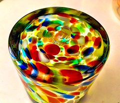 Bottoms up!  The base of my colorful everyday water glass.  It is hand blown glass from Mexico. I liked it so much that I bought a dozen. (ArtsySF©Marjie) Tags: multicolored colorful mexican mexico monday macro bottomsup bottom blownglass blown glass
