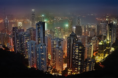 Hong Kong in the night (Massetti Fabrizio) Tags: hongkong night phaseone iq140 cityscape cina china cambo color red light landscape landscapes yellow
