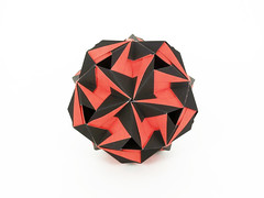 Notan (masha_losk) Tags: kusudama кусудама origamiwork origamiart foliage origami paper paperfolding modularorigami unitorigami модульноеоригами оригами бумага folded symmetry design handmade art
