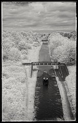 Boating In The Black Country No.2... (Phil Dodd CPAGB BPE2*) Tags: canon40d infraredphotography ir coseleywestmidlands infraredlandscape monchrome canal birminghamnewmainline westmidlandswaterways barge 720nminfrared convertedinfraredcamera monolandscape mono monochrome canon24105f4l canoneos40d infrared 40d waterways water