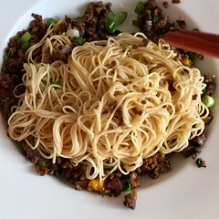 Mince and Noodles (droolworthy) Tags: noodles mince thaibasil chillioil egg fatlescooks 面 麵 pork foodvideo eeeeeats instafood instanoodles londonfood londoneats homecooked fetlescooks