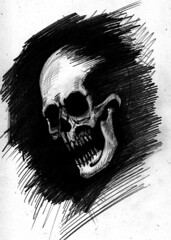 charnel apparition 2 sketch (ashley russell 676) Tags: charnel apparition ghost ghoul demonic entity possession illustration drawing pencil art macabre horror dark death evil spirit skull bones jaw black white monochromatic occult paranormal supernatural sketchbook poltergeist