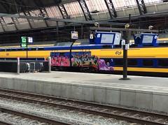Station Amsterdam Centraal (mirandaruiter330) Tags: trains amsterdam trainstation streetart graffiti bombing tagging