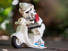 """Little known """"alternative fact"""": Scout troopers train on scooters before upgrading to speeder bikes. #toy_photographers #lego #starwars #scouttrooper #brickforge (julieblair2) Tags: toyphotographers lego starwars scouttrooper brickforge"""
