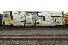 KI (TheGraffitiHunters) Tags: graffiti graff spray paint street art colorful freight train tracks benching benched ki whole car crew ribbet