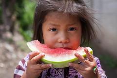 Girl Eating Watermelon (mayanfamilies) Tags: guatemala fundaciónfamiliamaya mayanfamilies mayan families charity donate shoes canon eos 5d watermelon donation purple red