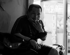 cigarette break (dr.milker) Tags: taiwan taipei bw man rooseveltrd street break cigarette scooter facemask blackandwhite blancoynegro noiretblanc 台灣 台北 黑白 人 羅斯福路 街拍 香煙 休息 機車 口罩