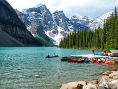 Beautiful Moraine Lake (kirknelson) Tags: banff morainelake mountains lake canada canoes nature