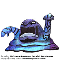 Muk from Pokemon GO with ProMarkers [Speed Drawing] (drawingtutorials101.com) Tags: muk pokemon go pokémon video games augmented niantic dennis hwang junichi masuda promarkers alcohol markers marker color colors coloring draw drawing drawings how timelapse