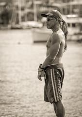 Awaiting History (JUNEAU BISCUITS) Tags: hawaii oahu beach pier alamoanabeachpark magicisland blackandwhitephotography portrait portraiture nikond810 nikon surfer beachboy