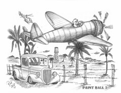 Paint Ball 2 (rod1691) Tags: bw scifi grey concept custom car retro space hotrod drawing pencil h2 hb original story fantasy funny tale automotive art illistration greyscale moonpiesi sanclemente iland paintball