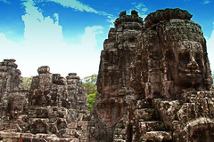 The Bayon's Face Towers, Cambodia (Chandana Witharanage) Tags: cambodia asia southeastasia bayon siemreap angkorthom temple architecture archaeology khmer buddhism ruins faces smile feature stones 7dwfsaturdaylandscape