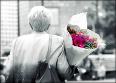 Buying flowers at the market (yvonne kluin) Tags: selective color flowers market