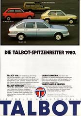 1980 Talbot Line (Swiss Ad) (aldenjewell) Tags: 1980 talbot 1510 sunbeam horizon matra rancho switzerland swiss ad