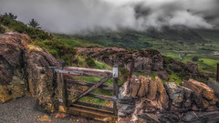 Rain or shine.....my gate to paradise. Ogwen valley .Snowdonia . (Einir Wyn Leigh) Tags: landscape valley gate love solace wales snowdonia cymru nature rain beauty wall mountains clouds