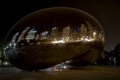 Cloud Gate at Night (explored) (Lorinda Pardi) Tags: chicago adler planetarium water lake michigan cloudgate cloud gate tribune skyline cityscape