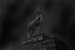 Centaur (selvagedavid38) Tags: mono black white sky statue roman pompeii italy volcano mythical ruins history