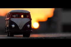 Mini Volkswagen Bus In Sunset Sky (Karim S.Punjani) Tags: landscape holiday loading lifestyle scene volkswagen summer miniature vehicle sunset travel old vintage road retro background adventure vacation design concept sun yellow trip car hot luggage transportation journey bus classic van toy delivering montreal canada carrying horizontal modeoftransport photography quebec shipping street surprise newyorkcity newyorkstate city overheadview blizzard driving ice snowing tyretrack motion businesstravel citylife colourimage day landvehicle nopeople outdoors publictransport traffic usa