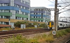 Speeding Away From London. (ManOfYorkshire) Tags: class387 electrostar bombardier 387104 north heading departing kingscross london suburbs emu electric multiple unit 25kv overhead power lines supply govia greatnorthern 90mph speedrestriction sign