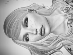 Maybe it's Magnifico (Montana Magnifico) Tags: sl sensual artistic portrait lips black and white monochrome second life art vintage inked headshot face beautiful freckled