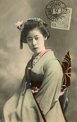 Wako of Nagoya 1906 (Blue Ruin 1) Tags: apprenticegeisha geiko geigi geisha nagoya japanese japan meijiperiod 1906 kanzashi obi postcard handcolouredpostcard wako