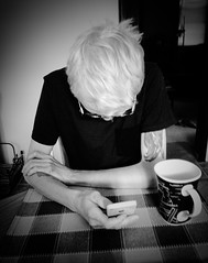 Generation Y (PEEJ0E) Tags: coffee addicted addict anthony gen y generation iphone culture social media young adult comsumed towhead