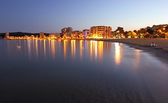 Le Lavandou Beach, France. (Richard D Porter) Tags: france canon tokina1116f28 seascape bluehour dusk lights sea beach longexposure tripod reflection 550d