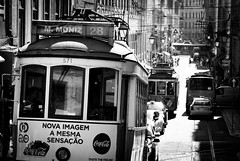 Traffic (dlerps) Tags: daniellerps europe lerps lisboa lisbon portugal sigma sony sonyalpha sonyalphaa77 lerpsphotography train tram cablecar publictransport pt transport transportation traffic street road driving alfama urban city metropolitain monochrome bw blackwhite tracks traintracks martimmoniz bairroalto bairro cocacola cables 28