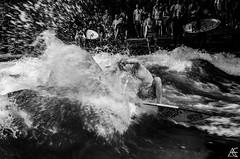 Splish Splash (axeleckenberger) Tags: bavaria bayern eisbach eisbachsurfer eisbachwelle germany kodaktmax100 minga munich münchen surfen xequalspresets blackandwhite person surfborard surfer surfergirl surfing surfphotography de