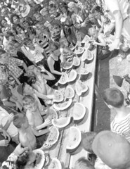 Children participating in a watermelon eating contest at the watermelon festival - Leesburg (State Library and Archives of Florida) Tags: florida leesburg watermelons festivals contests children