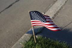 Curbside Celebration (C. VanHook (vanhookc)) Tags: americanflag 4thofjuly driveway curbside usflag symbolism symbols symbolize symbol redwhiteandblue