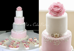 Wedding Cake 'Jas' (Relznik) Tags: wedding cake weddingcake peony flower ruffles lace cakelace ediblelace pink grey lustre luster white pretty