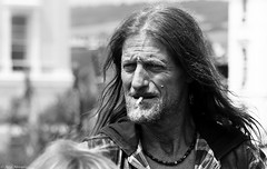 You can't judge a book by it's cover. (Neil. Moralee) Tags: neilmoralee man hell angel deamon cigarette smoke smoker hair long mature biker wrinkles weatherbeaten black white mono monochrome bw bandw blackandwhite face portrait candid street neil moralee nikon d7200 teignmouth devon uk air ambulance support 666 hellsangels charity event ride people