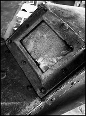 fallen hero (marcobertarelli) Tags: mask welder fallen hero industrial factory abandoned iron glass protective destroyed bw monochrome monochromatic photography reflections particular traces