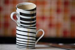 After Breakfast (Pittypomm) Tags: espresso cups dirty mug cup board crumbs knives knife tile tiles mosaic stripey stripes
