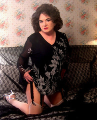 Me, black in the bedoom, (Sugarbarre2) Tags: woman wife babe granny nikon self s lace tabs sandals feet red floral flowers green pink flash legs fashion silver brunette high heels fun up short long mini fishnet old mature silk han
