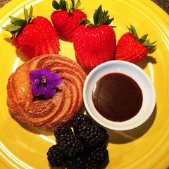 Churro Donut con accoutrements (26.3andBeyond) Tags: donut freshfruit churro breakfast food foodart