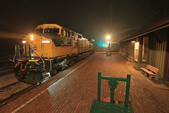 Union Depot (GLC 392) Tags: cnw chicago north western railroad railway train c449w irm illinois museum union il fog night shoot depot time exposure brick street side walk light lights 8701
