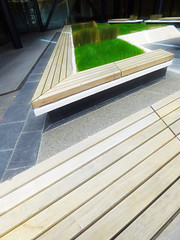 Seating for Architects (Steve Taylor (Photography)) Tags: seating hedge architecture bench seat garden black brown bright green wooden wood newzealand nz southisland canterbury christchurch city bush grass diagonal lines sunny sunshine