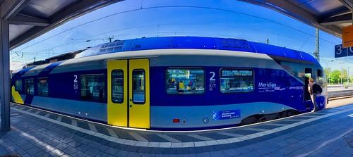 Meridian Regional Express train in Rosenheim station, Bavaria, Germany
