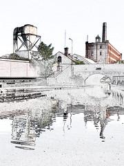 Fazeley junction (plw1053) Tags: iphone plw1053 paullgwells birminghamfazeley canal waterway reflection building bridge warehouse edit postcard outside painting art
